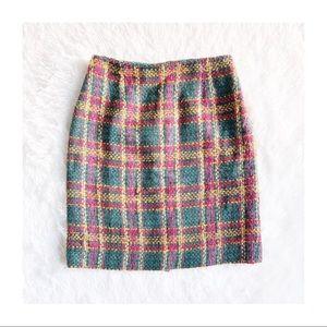 DVF VINTAGE upscale wool tartan plaid skirt SZ8